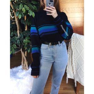 🌿 Vintage Cozy Retro Striped Boyfriend Sweater 🌿